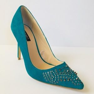 Shoemint Studded Ruth Heels 7.5 Suede Turquoise
